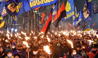 In Ukraine, far-right protesters demand Israel apologize for communist oppression