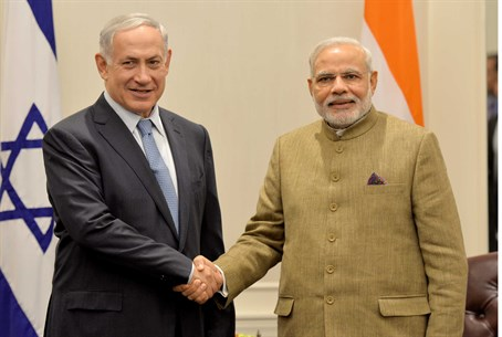 Bosom buddies: Prime Minister Netanyahu with India's PM Narendra Modi