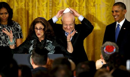 The Obamas with Talve and Rivlin